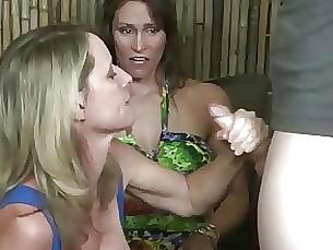 cumshot handjob milf threesome