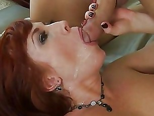 blowjob cumshot milf mouthful redhead