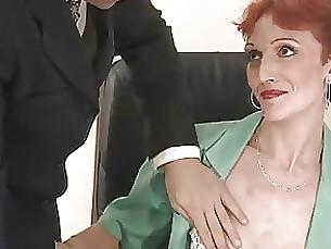 anal cumshot gang-bang mature office redhead