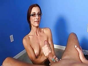 milf masturbation jerking hot handjob glasses couple