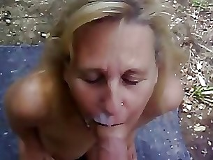 blonde blowjob mature outdoor