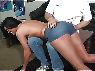 brunette pornstar spanking