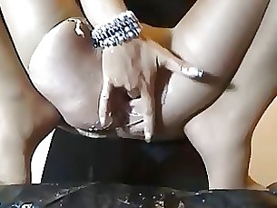 squirting fingering masturbation milf skirt stocking upskirt
