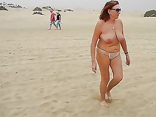 public beach amateur mature