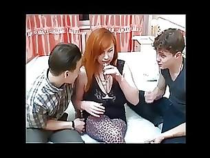 bus busty cumshot milf redhead teen threesome