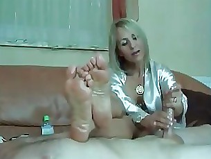blonde fetish footjob handjob milf