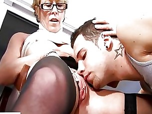 blonde blowjob couple glasses granny horny masturbation mature seduced