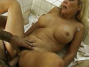 bathroom blowjob bus busty couple mature