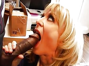 black blonde blowjob big-cock couple interracial milf secretary