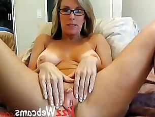 babe glasses kiss masturbation milf oil pussy webcam