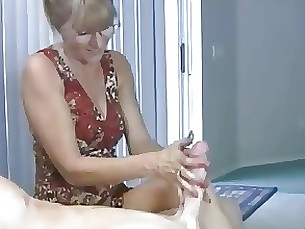 crazy cumshot handjob hot mammy mature milf