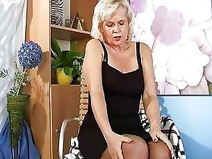 blonde granny masturbation mature solo stocking