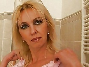 bathroom blonde bus busty dildo fuck mammy masturbation mature