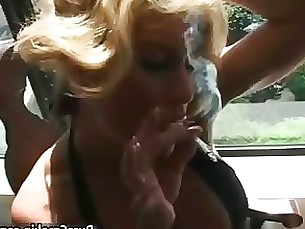 blonde smoking milf crazy fetish beauty