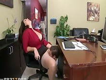 little milf office oral sucking funny big-tits blowjob boobs