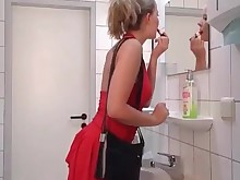anal ass bathroom blonde cumshot fuck hot mammy milf