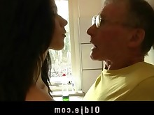 blowjob brunette big-cock cumshot facials fuck hardcore hot kitchen