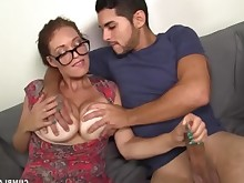 milf mature jerking hot handjob cumshot busty bus brunette