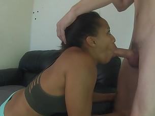amateur babe black blowjob brunette big-cock cumshot deepthroat ebony