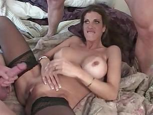 anal ass big-tits blowjob brunette big-cock cumshot double-penetration fuck