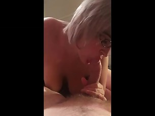 amateur ass blonde blowjob cumshot glasses juicy lingerie milf