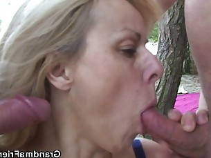 double-penetration friends granny mature outdoor pussy threesome