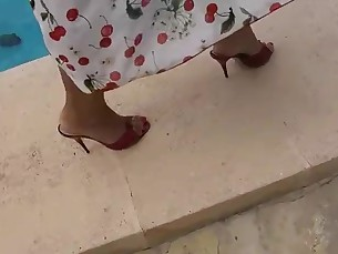 feet high-heels mature outdoor public
