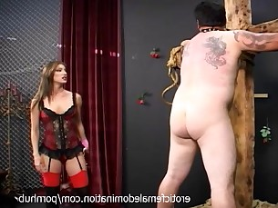 bdsm brunette fetish lingerie mature slave spanking stocking mistress