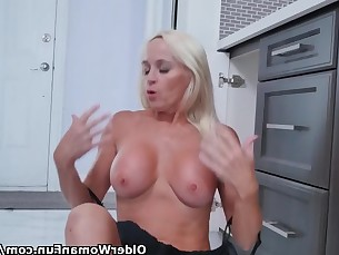 blonde fingering kitchen mammy mature milf pussy shaved striptease