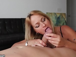 blonde big-cock erotic handjob juicy licking lingerie milf pov