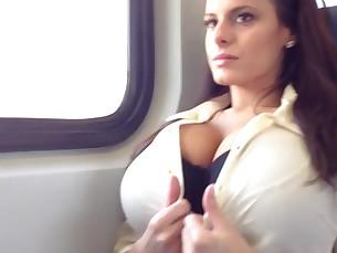 big-tits brunette milf tease train