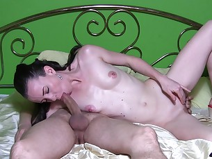 amateur beauty bedroom blowjob brunette couple creampie cumshot fuck