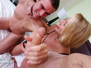 blonde big-cock fetish handjob jerking milf slave threesome
