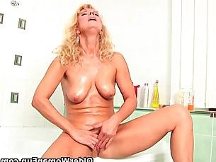 bathroom cougar hot mammy masturbation mature milf