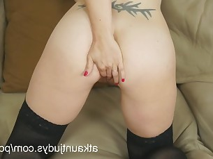 amateur babe cougar fingering masturbation milf nylon striptease tease