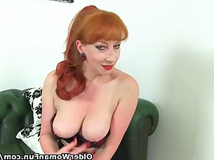 mammy mature milf pornstar redhead stocking tease