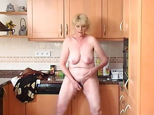 amateur big-tits blonde fingering hidden-cam high-heels horny kitchen masturbation